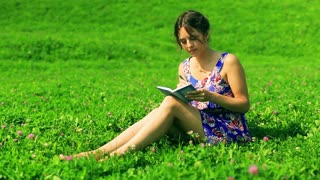 Woman sitting on the meadow and writing notes in the notebook