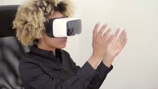 Woman Using 3D Virtual Reality Headset