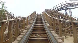 Wooden Roller Coaster Ride Comes to an End