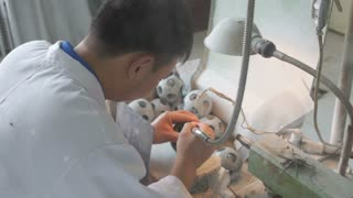 Workers Carving Jade in Shop