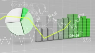 World Map Statistic Data Graph Green Loop Finance Background 4K