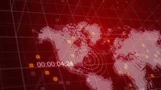 World News 3D Broadcast Animation Red World Map Background 4K