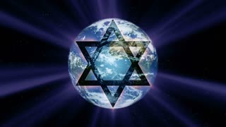 A star of David glows in front of a rotating planet earth (Loop)