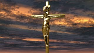 A crucifix in front of a dramatic sky (Loop)