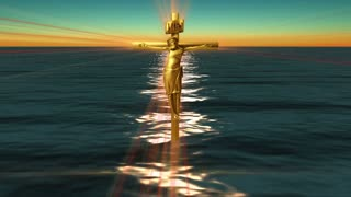 A bronze crucifix rises from the water (Loop)