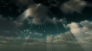 A starry sky emerges through clouds and light rays (Loop)