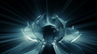 A lotus flower opens revealing the Ichthys Jesus Fish symbol in rays of light.