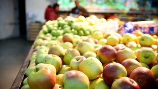 Yellow apples in fruit Department of supermarket