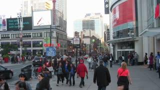Yonge-Dundas Square Toronto Timelapse 2. Toronto's Yonge-Dundas Square area, looking down Yonge Street. Shot in Time Lapse.