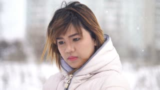 Young Asian Woman winter portrait 4k UHD (3840x2160)