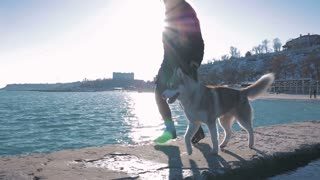 Young woman running in lights of sun with siberian husky on sea pier, slow motion