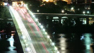 Zoom From Busy Georgetown Bridge to River Time Lapse