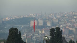 Zoom From Istanbul Skyline to Old Fort Wall