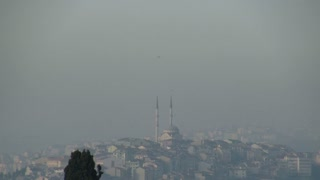 Zoom from Mosque Spires on Istanbul Skyline