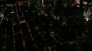 Zoom In Chrysler Building Nighttime Aerial