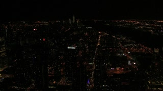Zoom In Downtown NYC At Night Aerial
