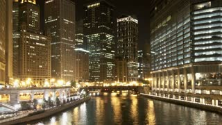 Zoom Out Chicago River Night