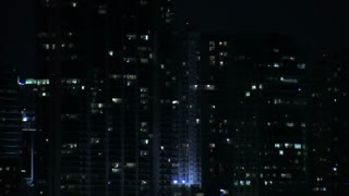 Zoom Out from Downtown Miami at Night