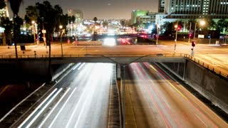 Zoom Out LA Highway Traffic Light Trails