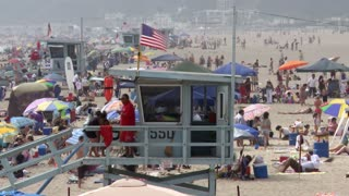 Zoom Out Lifeguard Tower At Beach