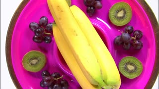Zoom Out of Purple Plate Fruit Platter