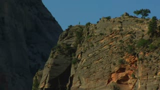Zoom Out Of Rocky Cliff In Zions National Park