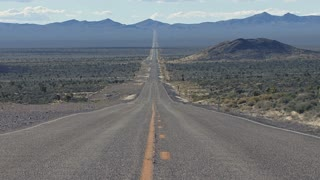 Zoom Out on Beautiful Nevada Desert Highway Landscape