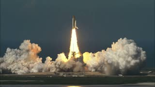 Zoom Out on Space Shuttle Lift Off