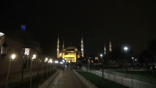 Zoom to Blue Mosque at Night