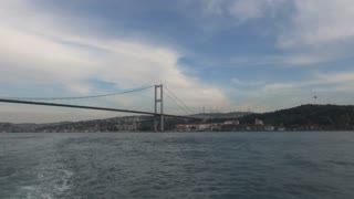 Zoom to Busy Bridge Over Bosphorus