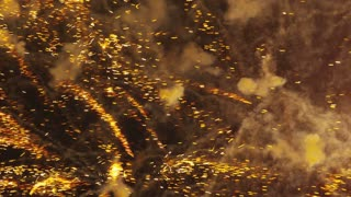Zoomed in Yellow Fireworks Exploding