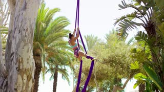 Acrobatic young woman doing an exotic dance performance hanging suspended by two silken ribbons from a tree in a tropical park