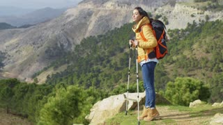 Active fit young woman hiker