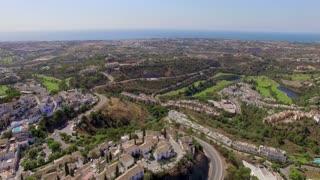 Aerial. Beautiful Panorama of Village in Spain