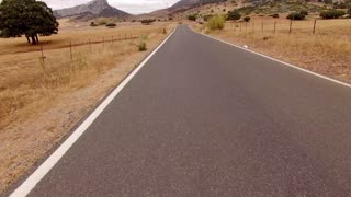Aerial. Drone Starts from Mountain Road