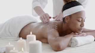 African-American Woman Getting Spa Treatment