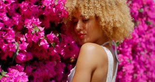 Afro American Girl on Floral Background