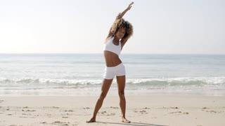 Athlete Girl Warm Up Outdoors On Beach