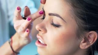 Beautiful Girl Getting Professional Makeup