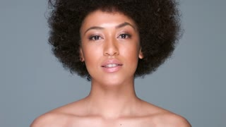 Beautiful woman with an afro hairstyle