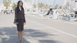 Business Woman Stand In Yacht Club