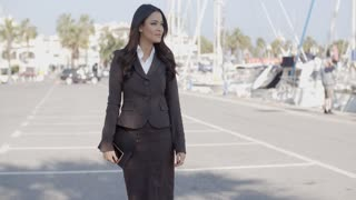 Business Woman Walking On The The Pier
