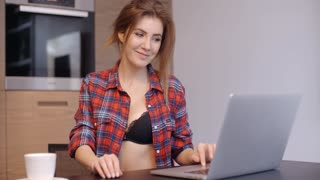 Casual Dressed Beautiful Girl With Laptop