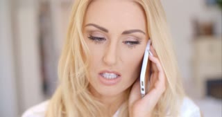 Close up Blond Woman Calling Through Phone