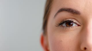 Close Up on Beautiful Girl Eye While Posing Isolated