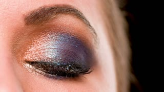 Close Up on Sexy Girl Eye With Glamour Colorful Makeup