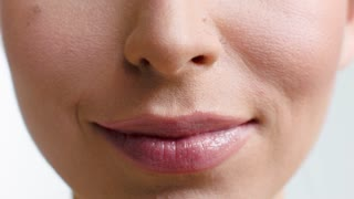 Close Up on Woman Lips,   She Smiling and Making Faces