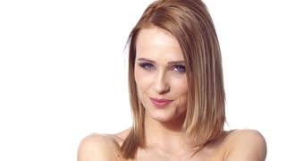 Cute Blond Woman Portrait on White