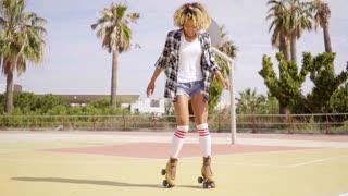 Cute single woman on roller skates