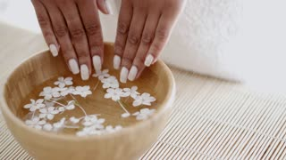 Female Hands And Manicure In Spa Salon